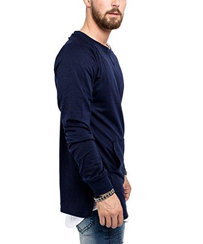 Phoenix Curved Crewneck Sweater Herren Longline Navy Blau