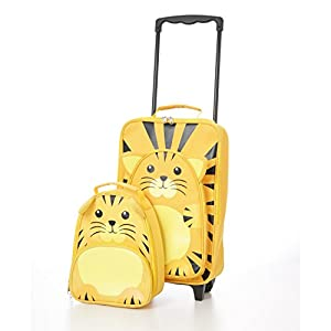 Childrens Luggage Kids Carry on Suitcase Travel Luggage Trolley and Backpack Set (Tiger Trolley / Backpack)