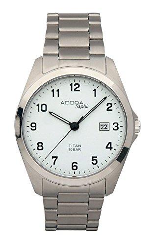 Herrenuhr Armbanduhr Analoguhr Titan mit Saphirglas Adora Saphir 28413