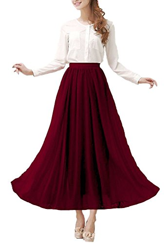 Afibi Damen Chiffon Retro Langer Maxi-Rock Weinlese-Kleid (2XL, Lila Rot)