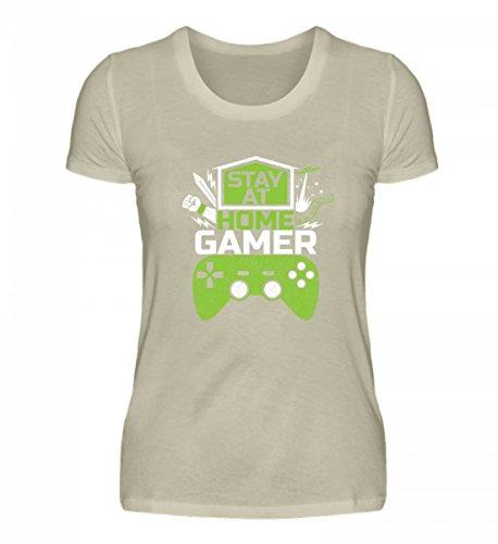 Shirtee Hochwertiges Damen Organic Shirt - Stay At Home Gamer - Gaming Videospiele Zocker Zocken Online Multiplayer Videogames Beige