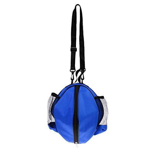 MagiDeal Wasserdichter Basketball Tragetasche mit Verstellbarer Schulterriemen - Umhängetasche und Handtasche, Balltasche Ballsack für Volleyball Fußball usw. Teamsport Sporttasche - Blau-Schwarz