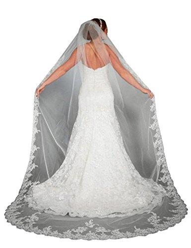 RuiyuhongE Spitzen Appliques Hochzeit Schleier mit Kamm Kathedrale Länge Brautschleier (Weiß)
