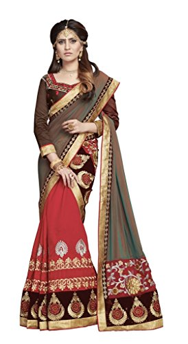 S. Kiran's Women's Designer Red Mekhela Two-Tone Chador - Assamese Mekhla Sador Joda