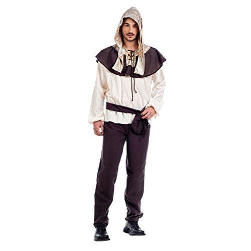 Mittelalter Knappe Kostüm Herren 4tlg. Hemd, Hose, Gürtel, Kapuze zum Karneval braun - (Knappe Kostüm)