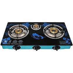 Surya Crystal 3 Burner Auto Gas Stove, Blue