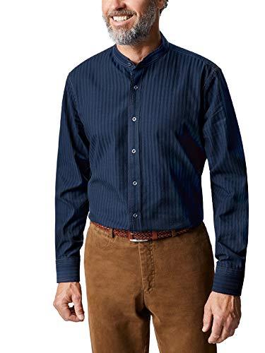 Walbusch Herren Hemd Denim-Stehkragenhemd Regular Fit einfarbig Dunkelblau 39/40 - Langarm -