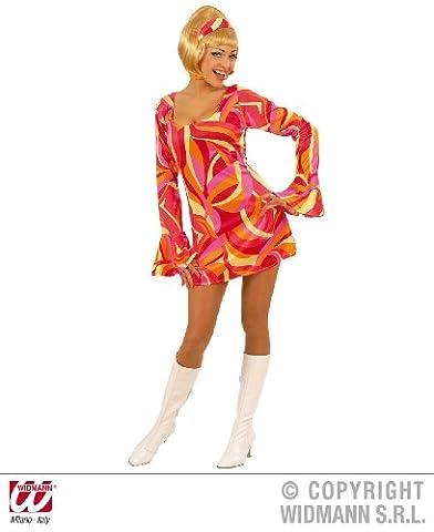 S58041r déguisement robe hippie des années 1970 doublure taille s (rouge)