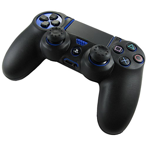 DOTBUY PS4 Controller Funda Siliconas Protector Protectora Mando de PlayStation 4 PS4 Slim PS4 Pro Game Cubierta de de 1 Colores con 1 Pares de Agarres Pulgar (Negro)