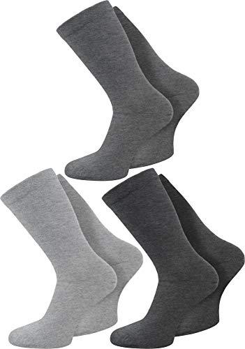 Circle Five 6 Paar Gesundheitssocken extra breiter Komfortbund für Problemfüße Farbe Hellgrau/Mittelgrau/Dunkelgrau Größe 39/42