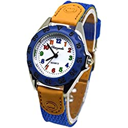 NICERIO Cute Boys Girls reloj de cuarzo Kids Children's Fabric Strap Student Time Clock reloj de pulsera (azul oscuro)