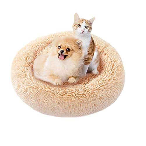 Vivi Bear Lit pour Chat Lit pour Chien Extra-Doux Confortable et Mignon,Coussin pour lit de Chat Lavable,Lit Donut Chien Convient aux Chats et aux Petits Chiens de Taille Moyenne(70 cm de diamètre