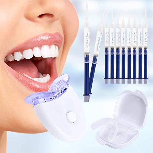 Zahnaufhellung Gel Kit Effektive Zahnreinigung und Pflege Beinhaltet-10x3ML Whitening GEL, 1xLED Light, 2xMouth Trays