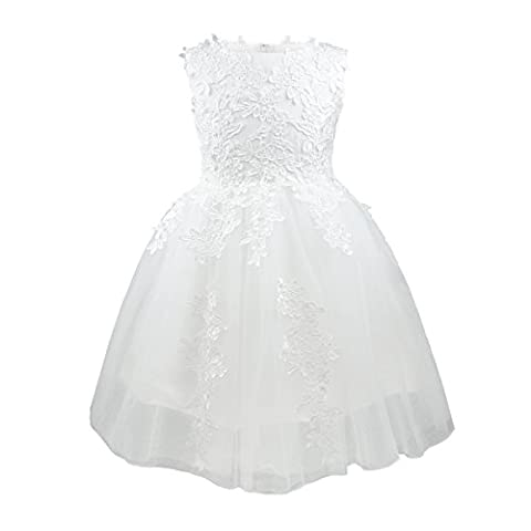 Girl's Flower Dresses Flower Tulle Wedding Pageant Bridesmaid Christening Princess Kids Ivory with US Size (5-6 years)