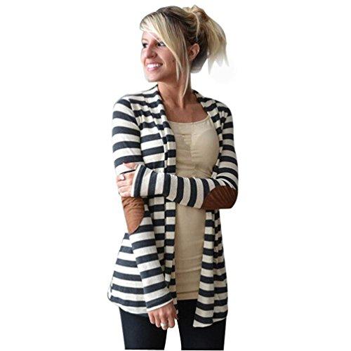 YunYoud Damen Große Größe Beiläufig Mantel Lange Ärmel Gestreift Outwear Stitching Tops Strickjacken Bluse Mode Super bequem Baumwollmischung Strickjacke (XXL, Weiß)