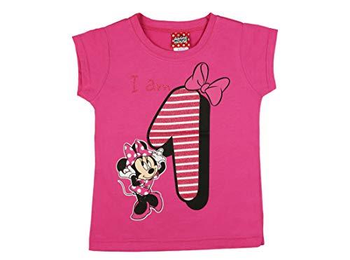 Mädchen Baby Kinder vierter Geburtstag Kurzarm T-Shirt 1 Jahr Baumwolle Birthday Outfit GRÖSSE 86 Minnie Mouse Disney Design und Glitzer in Weiss oder Rosa Babyshirt Oberteil Farbe Weiss Farbe Rosa (Minnie Maus Geburtstag Kleid)