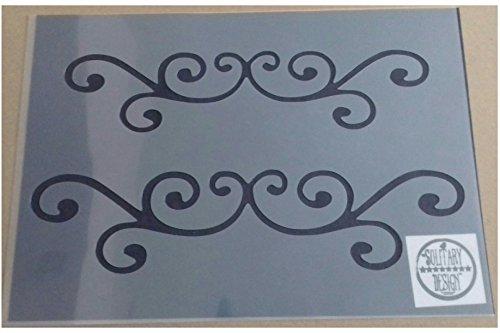 Vintage Flaches Blatt (Schablone flach Damast Flourish Shabby Chic Vintage A4210x 297mm für Möbel French Art Wand)