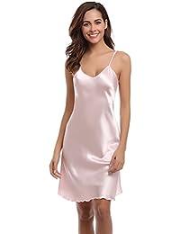 Aibrou Women Satin Negligee Babydoll Lingerie Night Dress Lingerie Nightdress Sleepwear Underwear Short Strap Dress V Neck