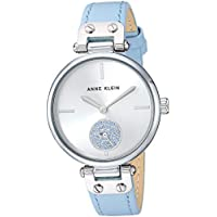 Anne Klein Women's AK/3381SVLB Swarovski Crystal Accented Silver-Tone and Light Blue Leather Strap Watch