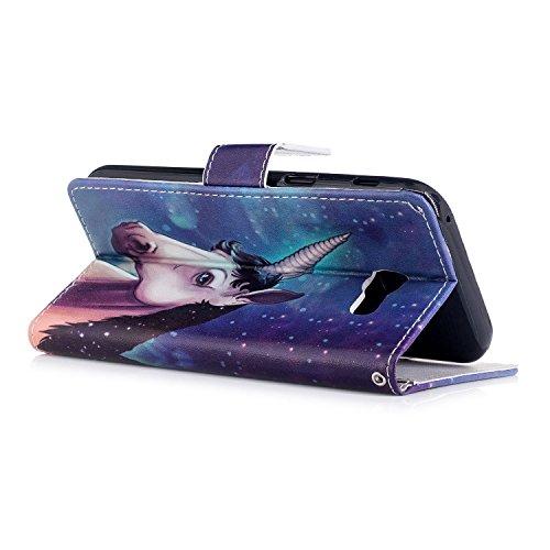 Linvei Samsung Galaxy A5(2017) Etui Cuir Coque,[Conception de motif coloré][PU Cuir Housse][Portefeuille Flip][Stand soutien/Card Slot /fermeture magnétique]-Plante tropicale verte Cool Unicorn