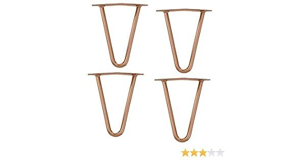 4 PIECES STYLISH TABLE LEGS HAIRPIN LEGS SET - 30 CM COPPER-COLOURED en.casa