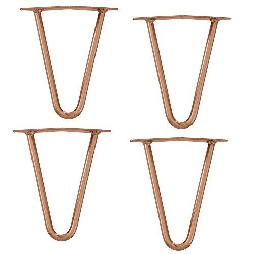 [en.casa]®] Set de 4 Patas de Acero robustas - Hairpin Legs - Color: Cobre - 15 cm - 2 Varillas