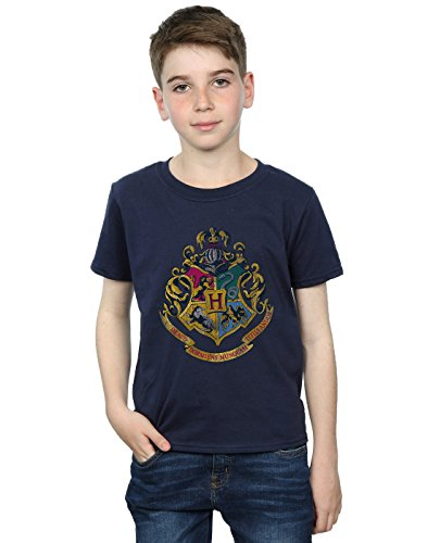 HARRY POTTER Jungen Hogwarts Distressed Crest T-Shirt 7-8 Years Marine - Distressed T-shirt