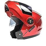 YXDDG Flip Front motorradhelm Dual Sport Helm offenes Gesicht Helm Motorrad mit dual visiere für Erwachsene-Rot A