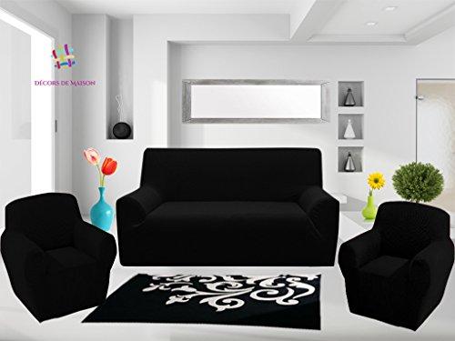 1 Housse de canapé 3 places + 2 Housse de fauteuil -FABRICATION ESPAGNOLE- Décors De Maison (NOIR)