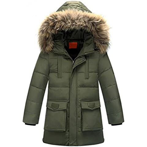 OMSLIFE Piumino Bambino Invernale Giacca Bambina Piumino lungo Cappuccio Cappotto