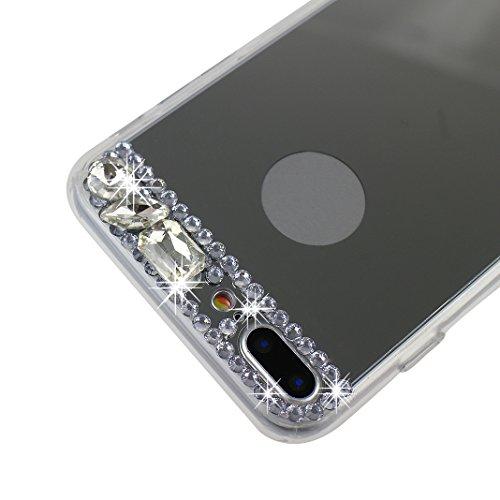 Coque iPhone 7 Plus/8 Plus Miroir Silicone TPU Souple, Moon mood® Glitter Coloré Diamant Or Doux Housse iPhone 7 Plus Soft Back Case Cover TPU Bumper Gel Soft Cas de Téléphone Flex Coquille Protection Argent