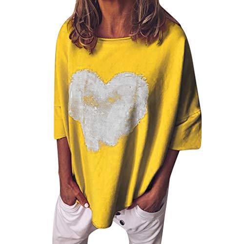 CUTUDE Sommer Damen Casual Rundhals Plus Size T-Shirt Kurzarm Tops S~5XL (Gelb, XXX-Large) -