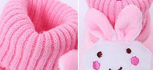 Happy Cherry – Chaussures de neige/ Chaussures souple antidérapantes chaude en hiver Chaussons velours corail avec hochet 3D mixte enfant bébé 9-12 mois – Rouge Rose