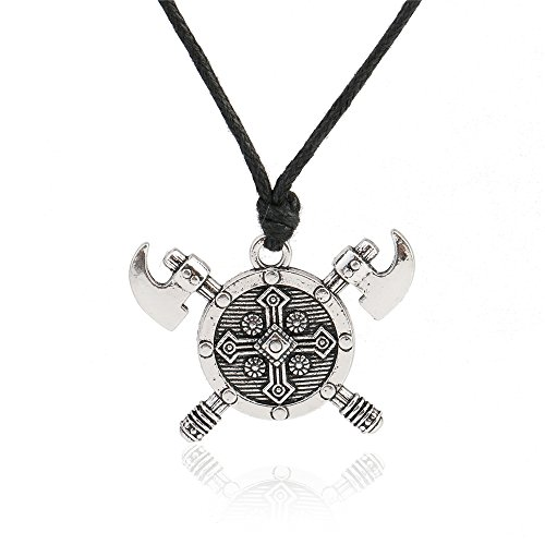 Herren Kostüm Barbar - DADATU Halsketten für Herren Doppelte Achsen Schild Barbaren Wikinger Kreuz Halskette Gladiator Mittelalterlichen Ritter Zinn Anhänger Halskette Mann Schmuck