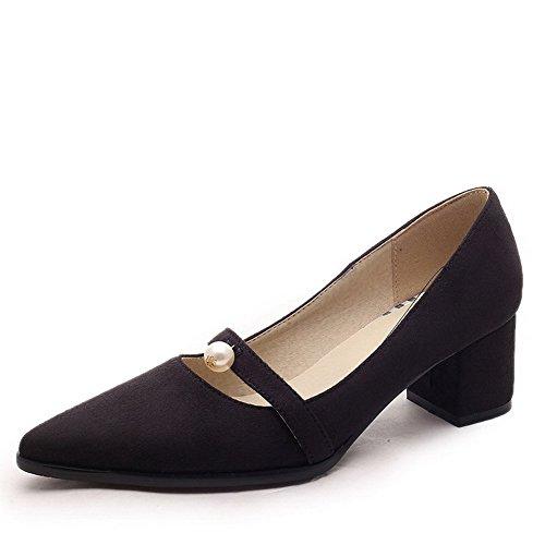 AgooLar Femme à Talon Correct Couleur Unie Tire Dépolissement Pointu Chaussures Légeres Noir