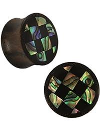 Orgánica Sonoholz Plug Paua abulón Resina tablero de ajedrez negro iridiscente colorido tribal