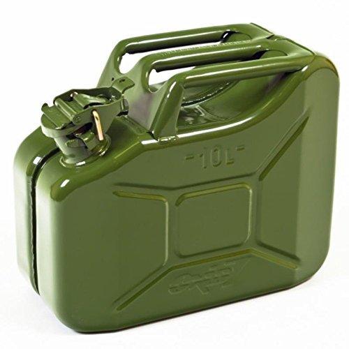 Oxid7®, tanica per carburante in metallo, con capacità di 10l, di color verde oliva, con omologazione ONU ecertificazione TÜV Rheinland,per benzina e dies