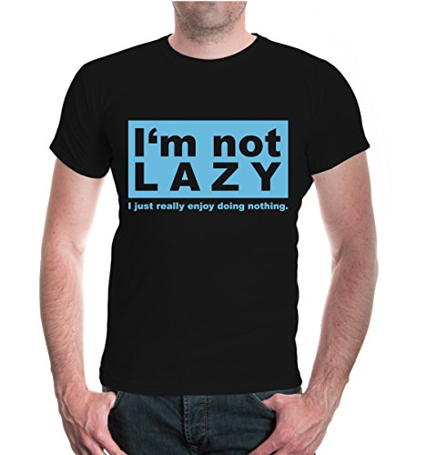 buXsbaum® T-Shirt Im not lazy I just really doing nothing Black-Skyblue
