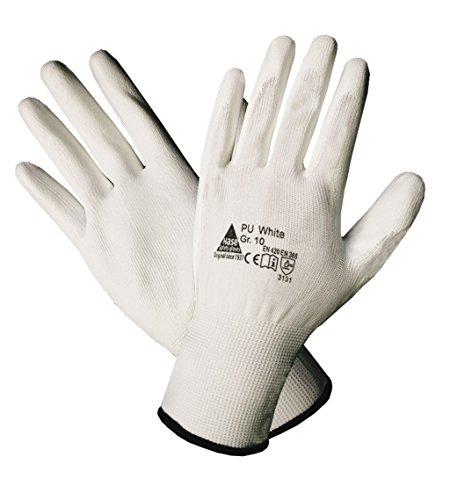10 Paar Hase Safety Gloves PU-Montagehandschuhe Polyesterhandschuhe Arbeitshandschuhe PU-Beschichtung weiß Gr. 9