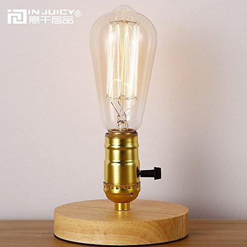 injuicy Lighting Retro Industrial E27Edison Lámpara de mesa madera base clásico antiguo...