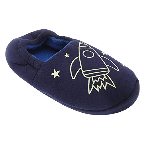 Universal Textiles , Chaussures souple pour bébé (garçon) Marineblau (Raketen-Design)