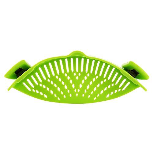 Etbotu Clip on Green Silikon Pasta Snap Strainer Spülmaschine Safe Colander Universal Size Fit Die meisten Pfannen Geeignet zum Ablassen von Pasta Gemüse Kartoffeln etc (Utility-hand-pumpe)