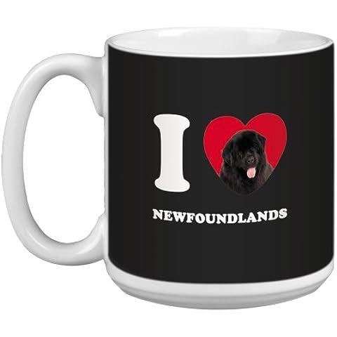 Árbol de-free Tarjeta de felicitación de 20 oz Newfoundlands papero de conejos y corazones de taza grande