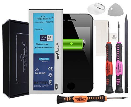 Trop Saint® Batterie Compatible avec iPhone 4S - 1430mAh, Kit de Réparation Batterie Interne avec Outils et Adhesifs