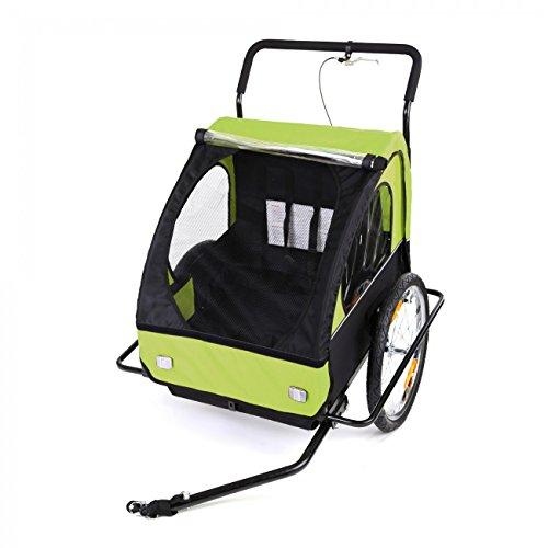SAMAX Fahrradanhänger Jogger 2in1 Kinderanhänger Kinderfahrradanhänger Transportwagen gefederte Hinterachse für 2 Kinder in Grün/Schwarz neu – Black Frame - 2