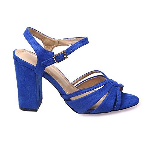 La Modeuse Sandales Femme en Suédine Bleu