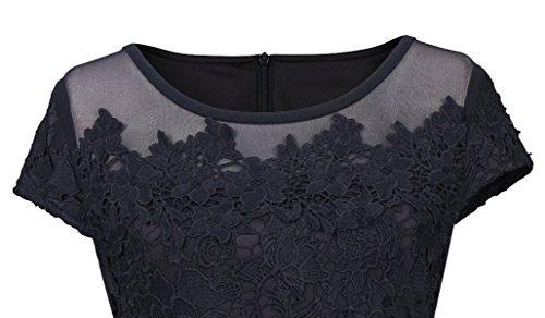 U8Vision Damen Elegant Abendkleid Spitzen Rundhals Ballkleid Kurzarm Bleistiftkleid Cocktailkleid Schwarz Gr.S-XXL Schwarz