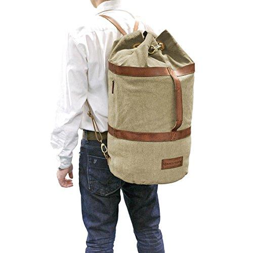 DRAKENSBERG Kimberley Duffel Bag, Seesack, Rucksack, Segeltasche, Canvas, Leder, Vintage, Safarilook, beige, khaki, braun Beige