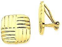 IceCarats 14k Yellow Gold Non Pierced Clip On Basket Weave Earrings