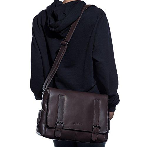 FEYNSINN Messenger bag ASHTON - Umhängetasche fit für tablet - iPad - Laptoptasche - echt Leder braun braun